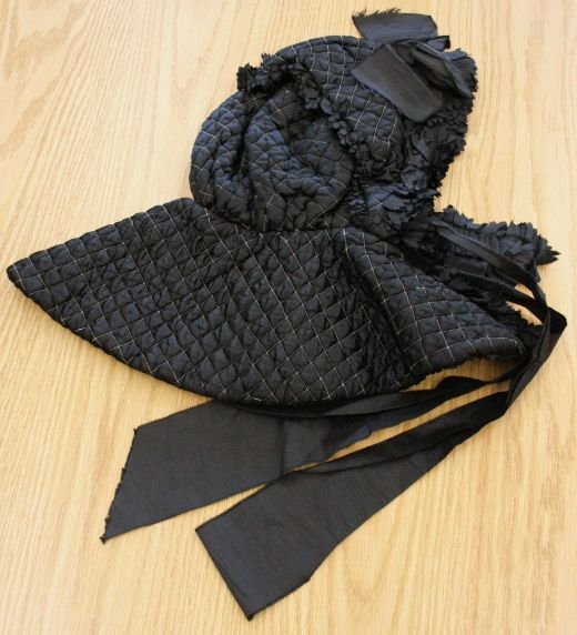Black Satin Quilted Bonnet