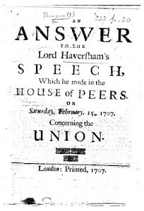 Response to Lord Haversham's Speech, 1707