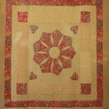 Turkey Red and Ochre Frame Applique Quilt